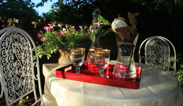If you would enjoy a glass wine, tea or any other beverage outside, then just ask, we will be delighted set it up for you.