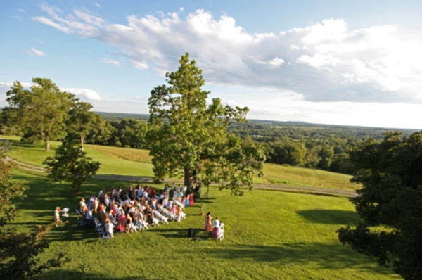 An afternoon wedding viewed from atop the Portico, a popular place to enjoy anytime day or night.